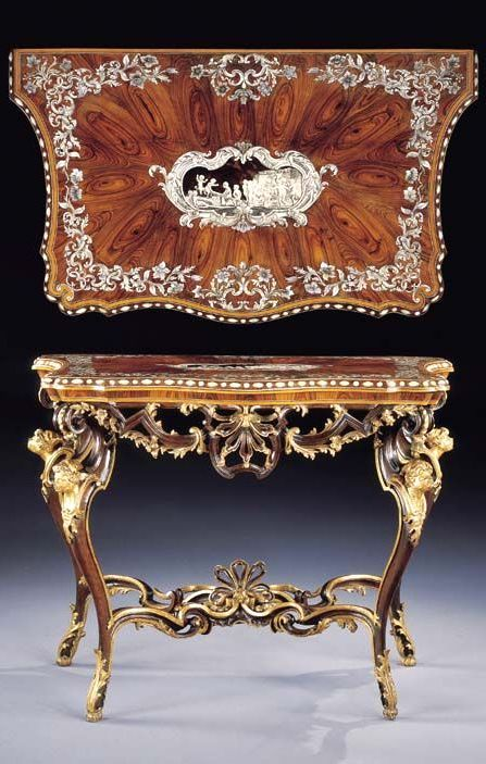 Pietro Piffetti (Torino, 17 agosto 1701 – Torino, 20 maggio 1777) AN ITALIAN KINGWOOD, IVORY, MOTHER-OF-PEARL AND TORTOISESHELL TABLE TOP BY PIETRO PIFFETTI, ON A PIEDMONTESE WALNUT AND PARCEL-GILT BASE, TURIN, CIRCA 1740
