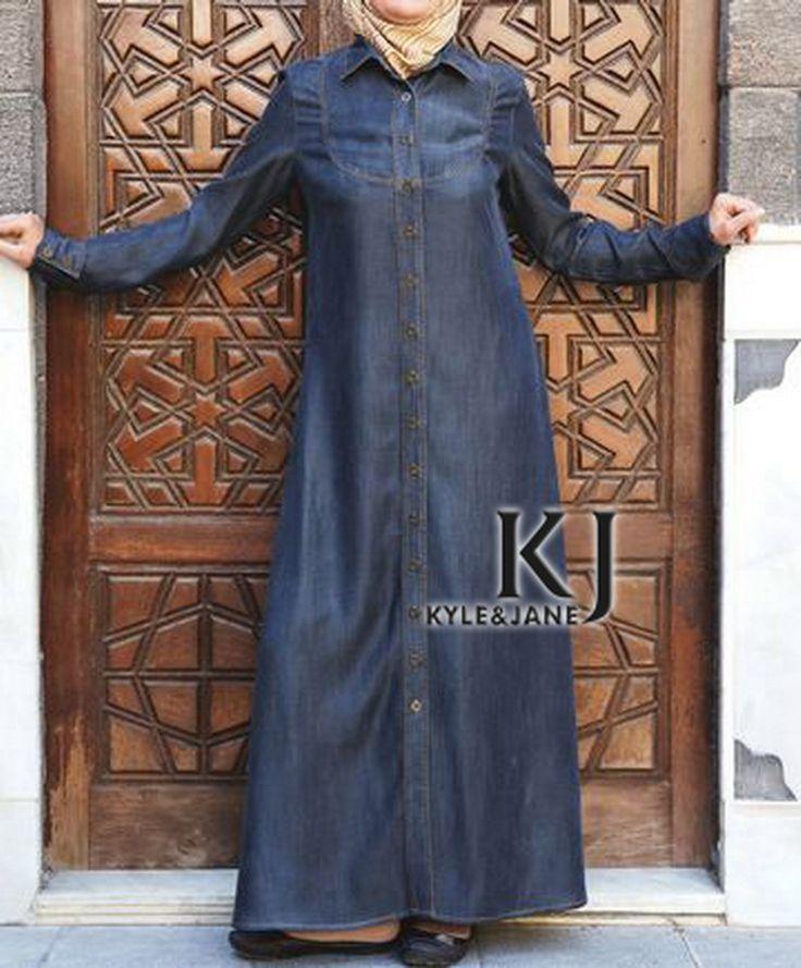 Barato Customizáveis 3 Cores Denim de manga comprida abaya vestido dos muçulmanos, moda turco roupas femininas maxi vestido com botões WAB30013, Compro Qualidade Vestuário islâmico diretamente de fornecedores da China: Customizáveis 3 Cores Denim de manga comprida abaya vestido dos muçulmanos, moda turco roupas femininas maxi vestido com botões WAB30013