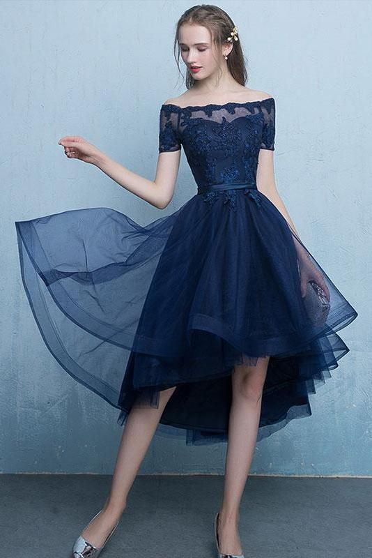 23ae7c6af734ab Homecoming Dresses UK,Buy Dark Blue Lace Tulle Short Sleeve High Low Round  Neck A