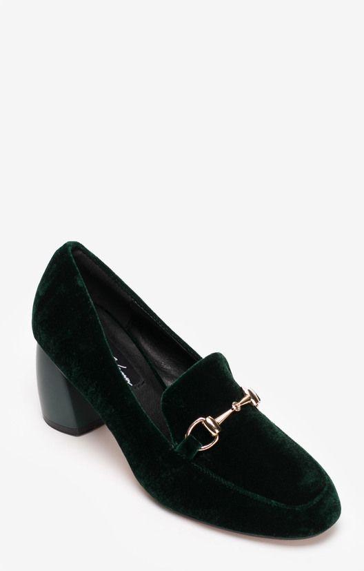 Бархатные туфли изумрудного цвета с широким каблуком Lera Nena / 2000000183701-3