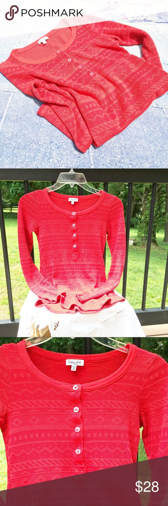 "SPLENDID Red Long Sleeve Top, Size XS SPLENDID Red Long Sleeve Top, Size XS Red patterned laying tee (or not).  Fabric is 48/48/4, cotton/modal/Spandex.  Underarm to underarm measures 14"" and length is 20"".  17"" sleeve length measured from underarm. Splendid Tops Tees - Long Sleeve"
