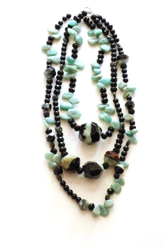 Mint Chocolate Chip Necklace: Black and Green Agate, Amazonite, Glass Beads