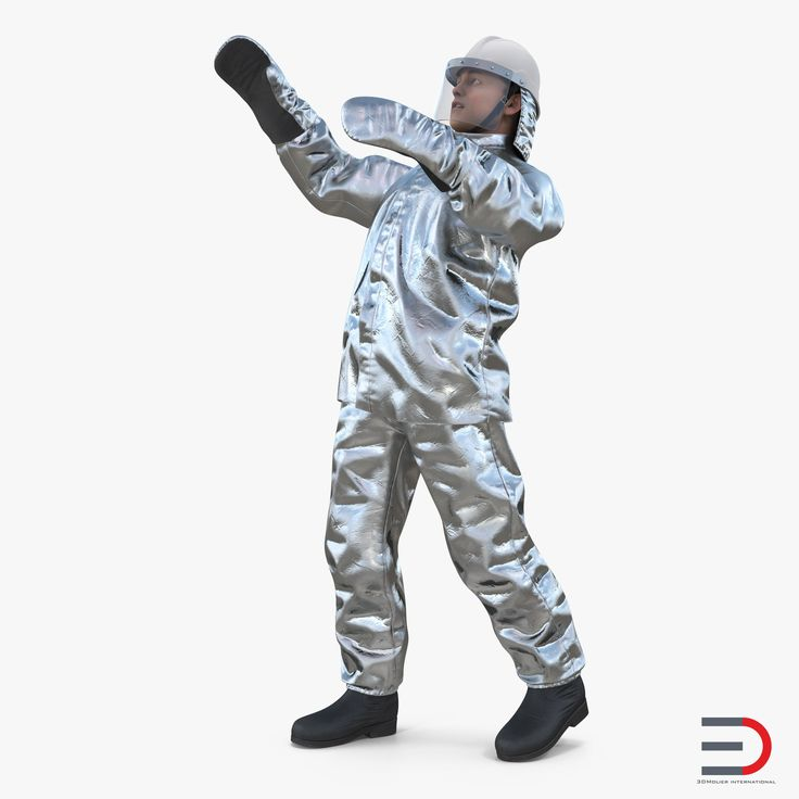 3D Firefighter Wearing Aluminized Fire Proximity Suit Rigged model