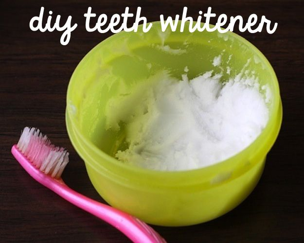 DIY teeth whitener: a little toothpaste, 1 tsp baking soda, 1 tsp hydrogen peroxide & 1/2 tsp water, 1-2 minutes, weekly