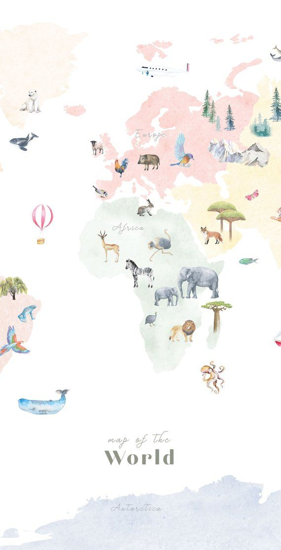 Colorful Animal World Map Printable, wall art print, nursery decor, kids room, travel print, drawing