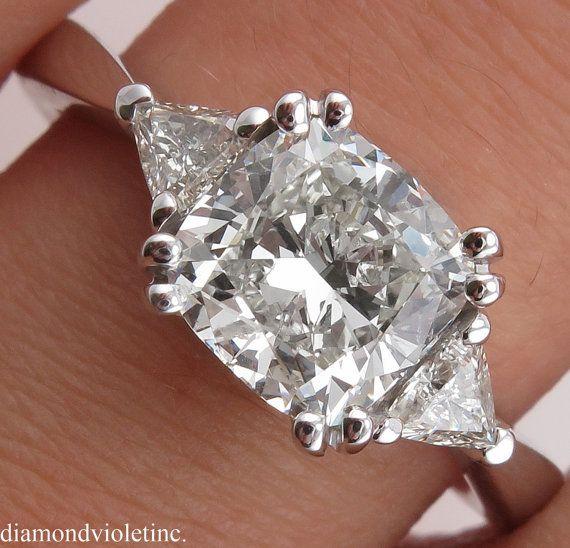 GIA 2.28ct Estate Vintage Cushion Diamond Three by DiamondViolet