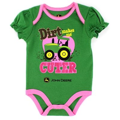 John Deere Baby Girls Bodysuit Bodyshirt Tractor #YankeeToyBox #FunStartsHere #JohnDeere #Tractor #BabyBodysuits