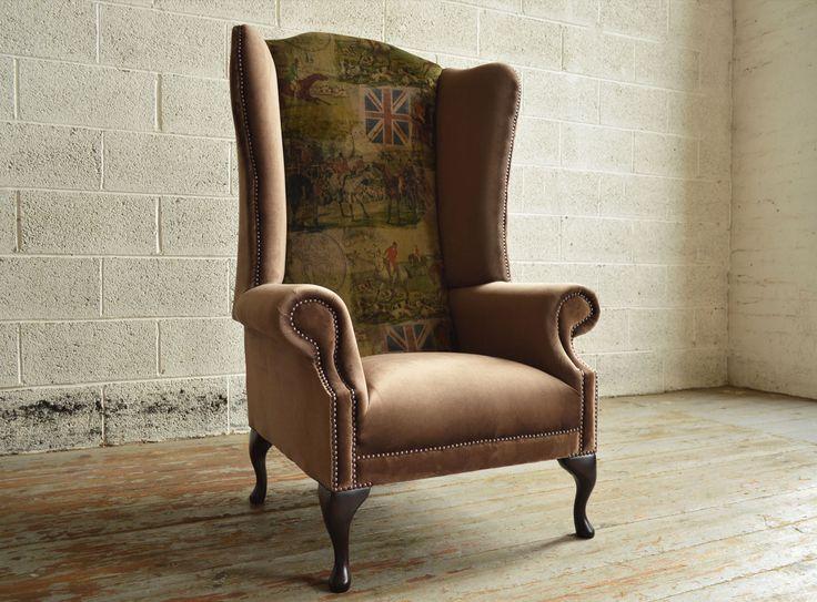Bespoke British fox hunting printed velvet high back Chesterfield Wing Chair. Brown velvet   Abode Sofas