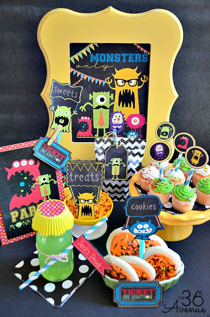 Monster Party Printables @Matt Valk Chuah 36th Avenue .com  #MonstersU