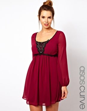 ASOS Curve | ASOS CURVE Dress With Embellished Lace Trim at ASOS