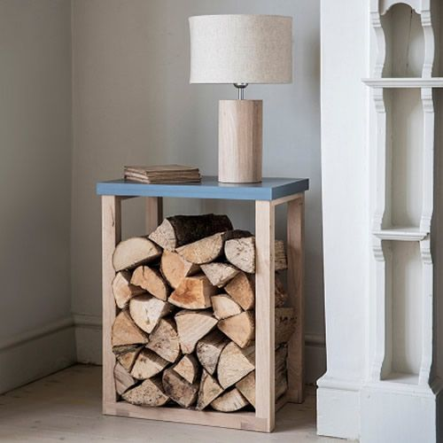 This fab log storage table crafted from a mix of rustic oak and charcoal coloured paint...
