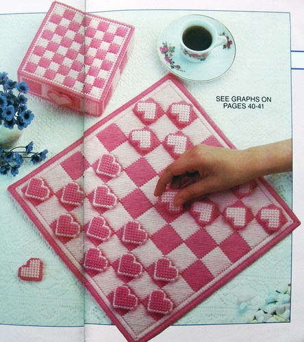 Valentine's Day Heart Checker Game Plastic Canvas Pattern Love | eBay