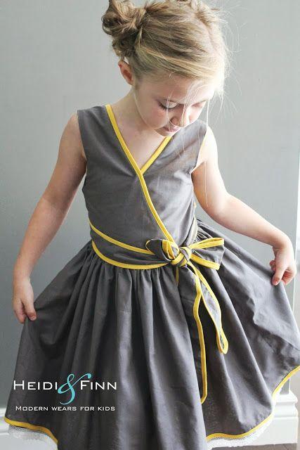 HeidiandFinn modern wears for kids: Pattern Remix - Saffron Twirl Dress by Zafarani