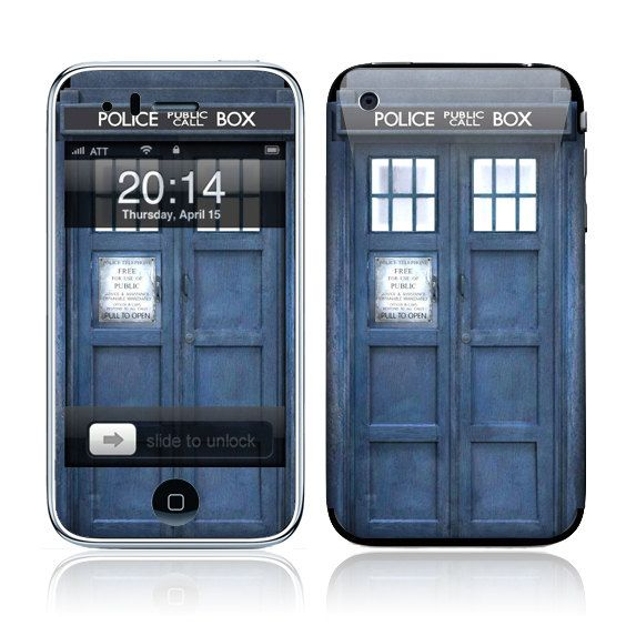 Apple iPhone 3G / 3GS Skin Cover  - Police Public Call Box Glossy Matte Leather option. $9.95, via Etsy.
