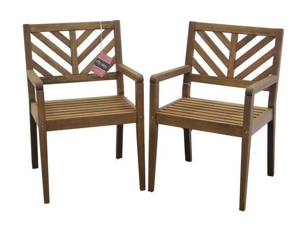 Timbo Mestra Patio Hardwood Chairs With Arms   Set Of 2