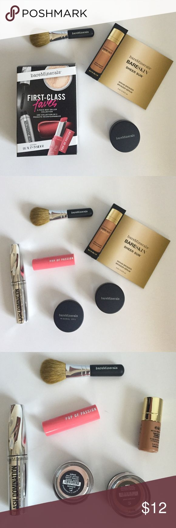 Brand New, Bare Minerals Set Bare Minerals bundle, never been used. Set includes: mini mineral veil finishing powder, lash domination volumizing mascara, pop of passion lip oil-balm, sheer sun serum bronzer, pure radiance all over face color, and mini face brush bareMinerals Makeup