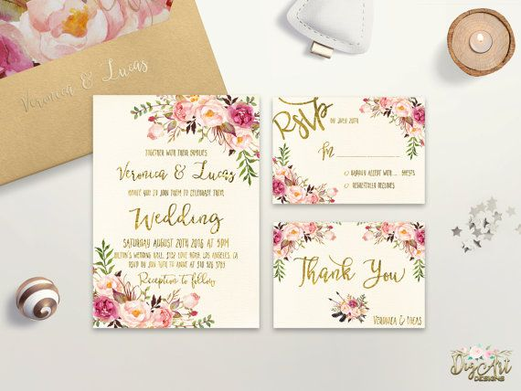 Floral Wedding Invitation Printable or Printed Boho Chic Wedding Invitation Suite Bohemian Wedding Invite Gold Foil Typography invite set