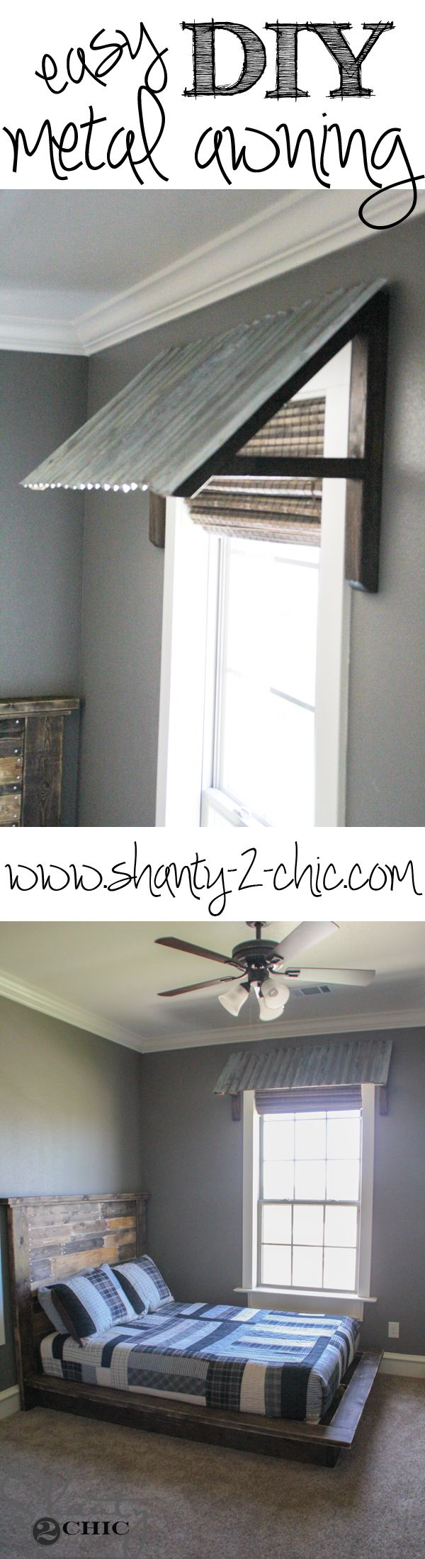 Easy and inexpensive corrugated metal awning! Plus a tutorial on how to make new metal look old!
