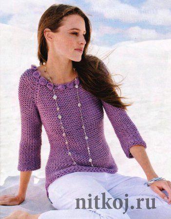 Пуловер изнаночной гладью