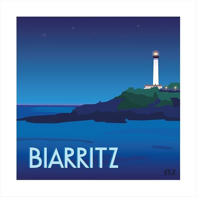 Petite balade de nuit du côté de #Biarritz  #illustration #yipikaii #yipikaiiillustration #paysbasque #paysage #nuit #night #phare #lighthouse #ocean #sea #blue #bleu