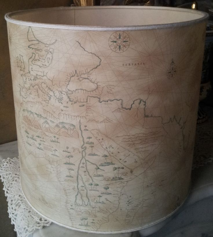 Old World Map Parchment Drum Lamp Shade - Handmade in Italy by OggettiVeneziani on Etsy