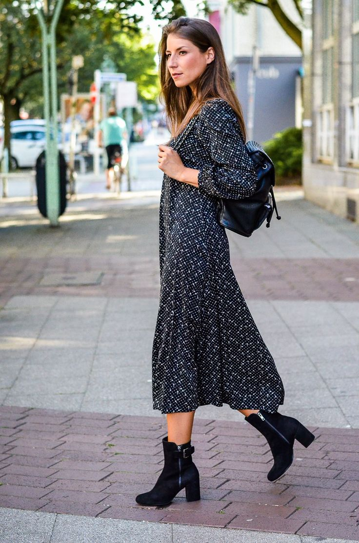 Outfit :: Midi Dress & backpack