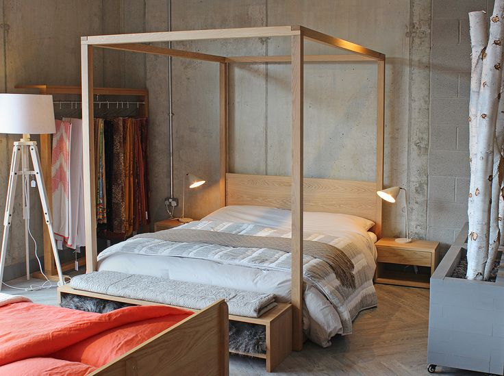 The Cube four poster at our new Sheffield showroom:  http://www.naturalbedcompany.co.uk/shop/contemporary-beds/cube-modern-four- poster-bed/ | Pinterest ...