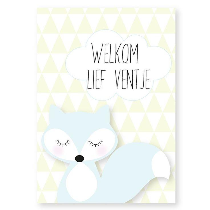 Ansichtkaart Welkom lief ventje Lief vossen kaartje met tekst Welkom lief ventje. Leuk om op te sturen bij de geboorte van een baby jongetje, maar ook heel decoratief in een lijstje of met stukje washitape opgeplakt in bijvoorbeeld de kinderkamer..