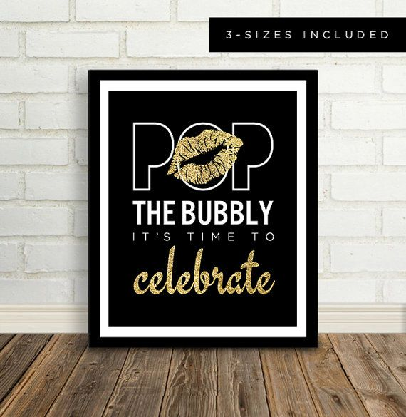Gold Lips, Champagne Sign, Bachelorette Party Sign, Party Sign, Pop The Bubbly, Celebrate Sign, Bachelorette, Birthday, Glitter, DIGITAL