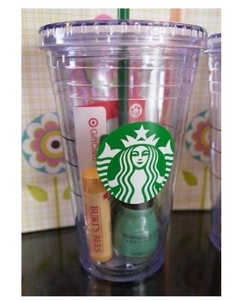 What a cute party favor!!! Fill a Starbucks reusable cup with a gift card/ thank you note, lip balm, and a cute nail polish!!!! How awesome!??!?