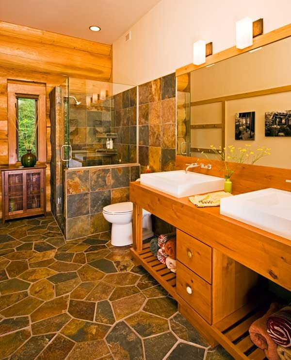 17 best images about for the home log cabins on Master bathroom tile floor
