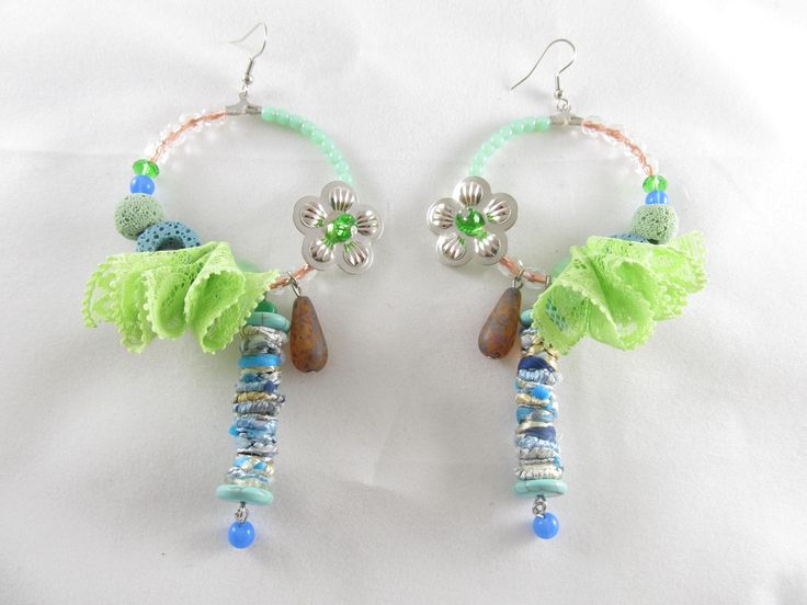 Handmade lace earrings (1 pair)  Made with handmade fiber beads with silk , glass beads, semiprecious stones, metal flowers, lace and antiallergic hoops.