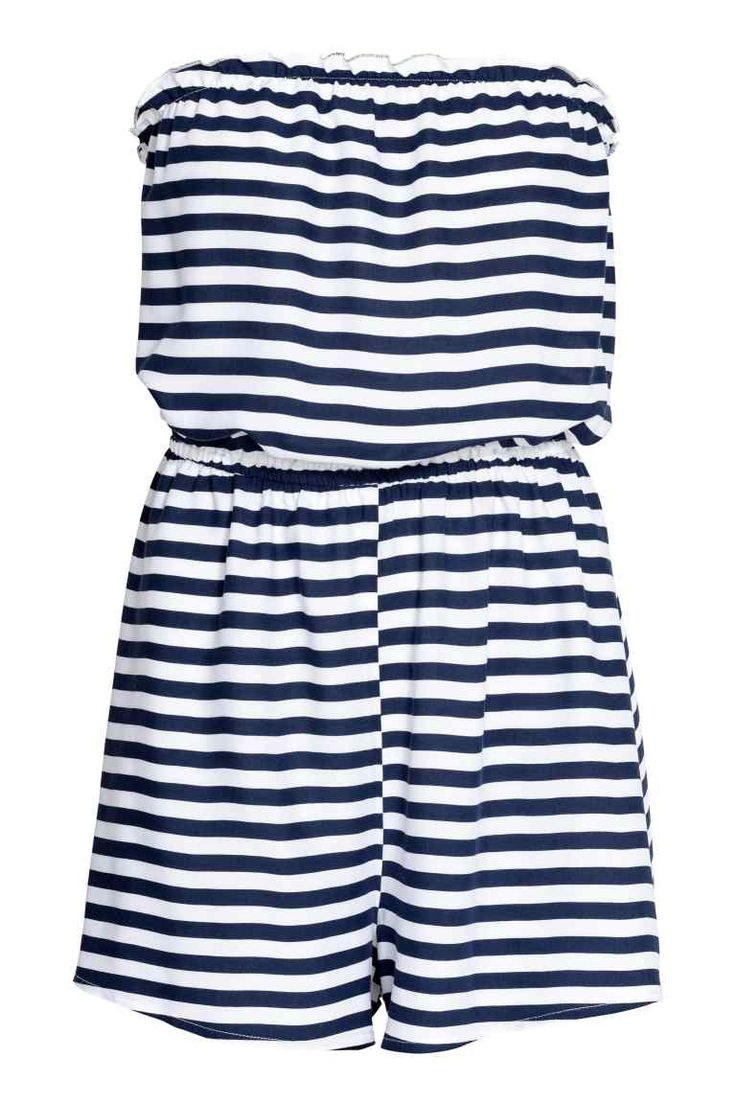 Strapless playsuit - White/Dark blue/Striped - Ladies | H&M GB