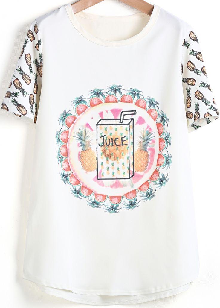 Apricot Short Sleeve Pineapple Print T-Shirt US$20.18