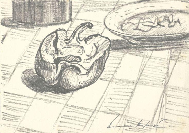 E. Besozzi pitt. s.d. (1952) Studi (peperone con piatto) pennarello su carta cm. 24,4x17 arc. 459
