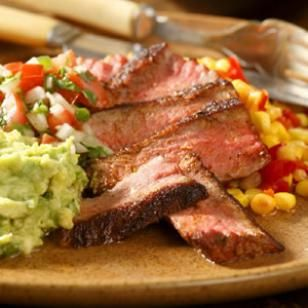 Skillet-Roasted Strip Steaks with Pebre Sauce & Avocado Recipe: Strips Steaks, Avocado Recipes, Dinners Recipe, Pebr Sauces, Skillets Roasted Strips,  Meatloaf, Meat Loaf, Healthy Recipe, Strip Steak