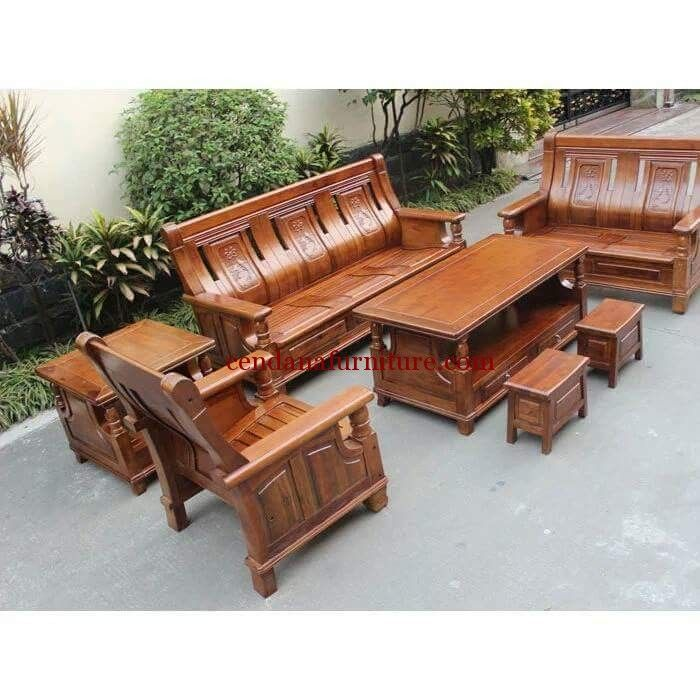 Kursi Ruang Tamu Minimalis Jubo Giant memiliki tampilan mewah dengan design minimalis terbuat dari kayu jati dengan finishing melamini yang anggun