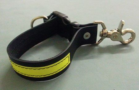 Leather Firefighter Glove Strap w/3M Yellow Reflective - Quick Release Clip