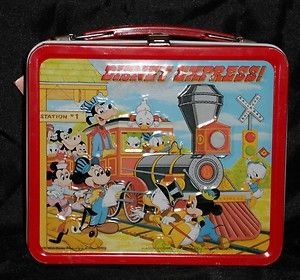 vintage lunch boxes | WALT DISNEY - VINTAGE - 1979 EXPRESS METAL LUNCH BOX & THERMOS - NEVER