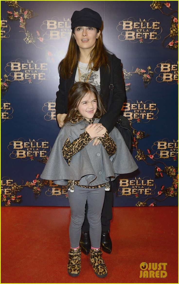 Salma Hayek and her husband Francois-Henri Pinault take their daughter Valentina to the premiere of La Belle et La Bete on February 9, 2014