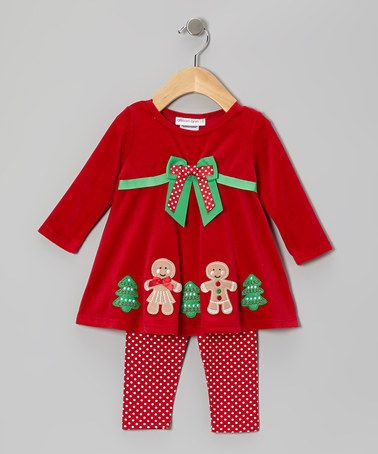 Take a look at this Red Gingerbread Velour Dress & Leggings - Infant & Toddler by Gerson & Gerson on #zulily today!