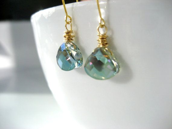 Aqua faceted crystal teardrop 14K earrings. by CrystalCravings1