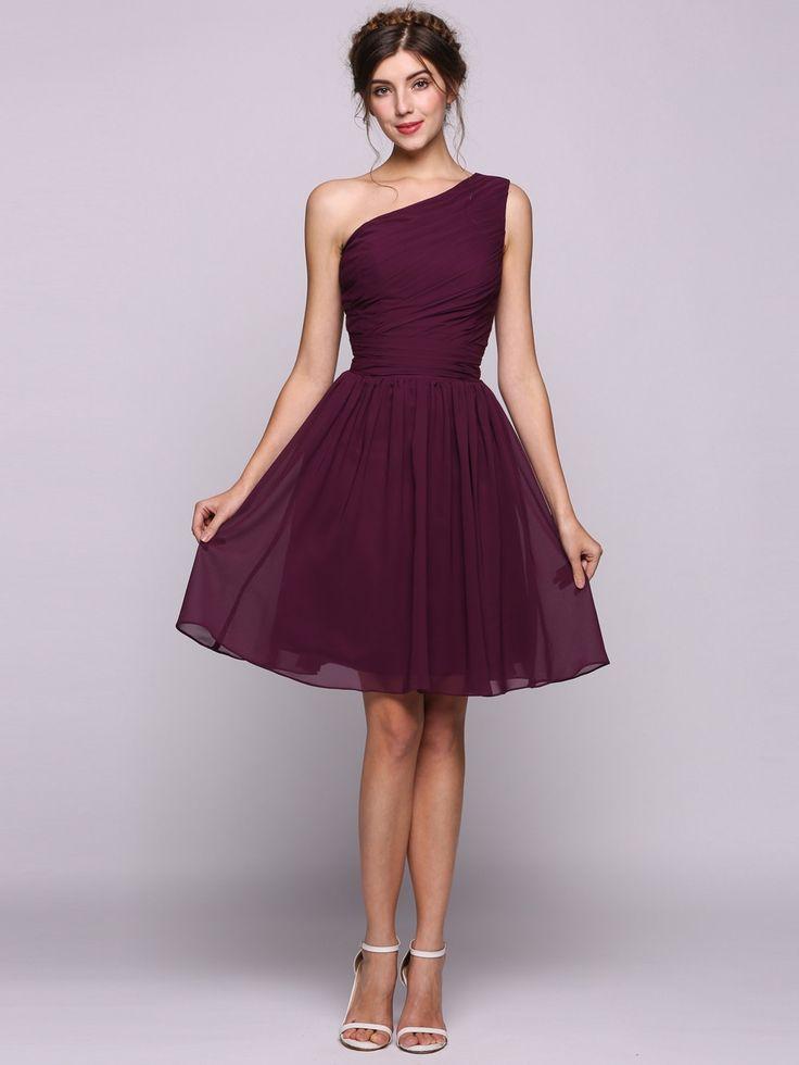 Women Chiffon Ruffle One-shoulder Knee-length Bow Bridesmaid Dress