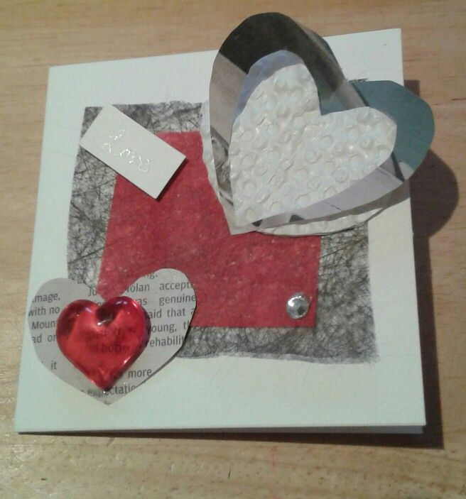 Valentines or Romantic card made using recycled flower bouquet packaging, newspaper and chocolate box bubble packaging. Chop up your valentines gifts and use to make next year's card!