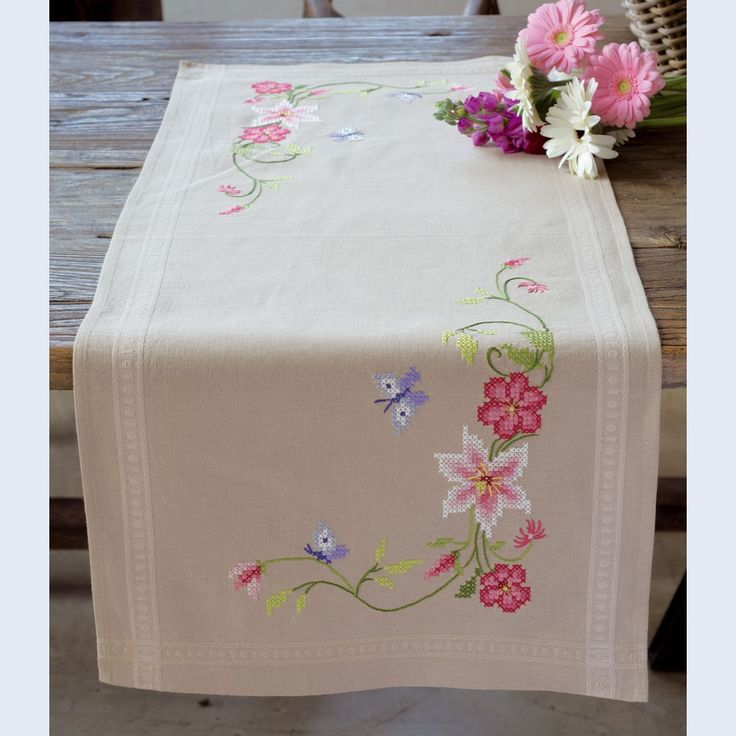 Pink Flowers and Butterflies - table runner - printed cross stitch kit - Vervaco