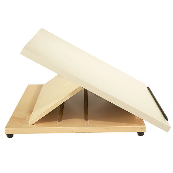 """Shain's Portable Drafting Table is ideal for classrooms or studios that are tight on space. It features a 24"""" x 20"""" drawing surface made of smooth plastic laminate. A pencil ledge supports drawing materials and sketch pads. The notched solid maple base positions the tabletop at a 30, 45 o"""