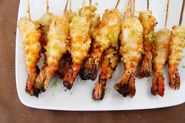 Chili-Lime-Brandy Grilled Shrimp - use wholly salsa pineapple or red pepper mango as a dipper!