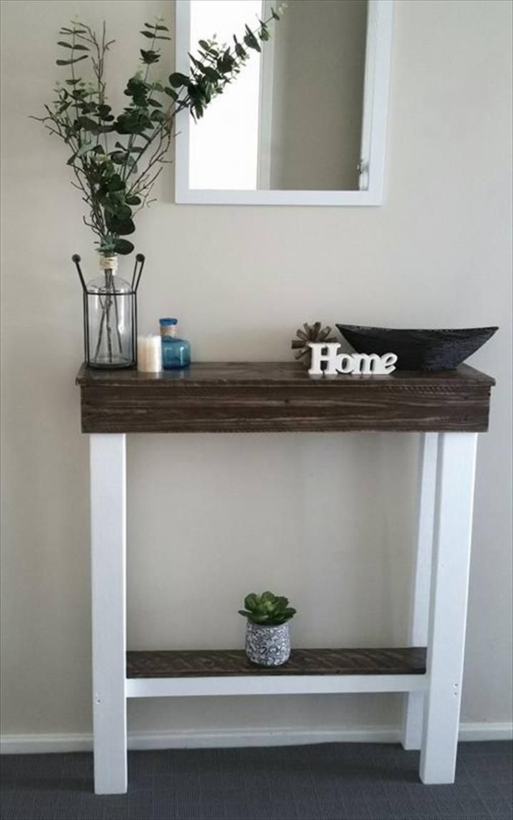 Slim Milk and Choco Pallet Entryway Console - 130+ Inspired Wood Pallet Projects   101 Pallet Ideas - Part 12