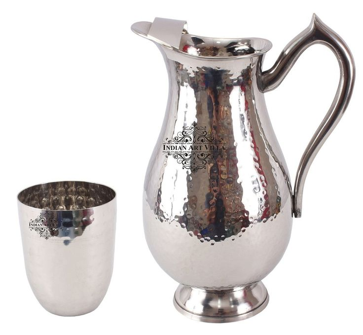 Steel Hammered Set of 1 Royal Jug 2000 ML with 1 Glass 400 ML - Serving Drinking Water