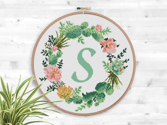 BOGO FREE! Succulent Wreath Cross Stitch Pattern, Floral Letter Wreath Flower Counted xStitch Cactus Modern Decor, Instant Download #046-2-5